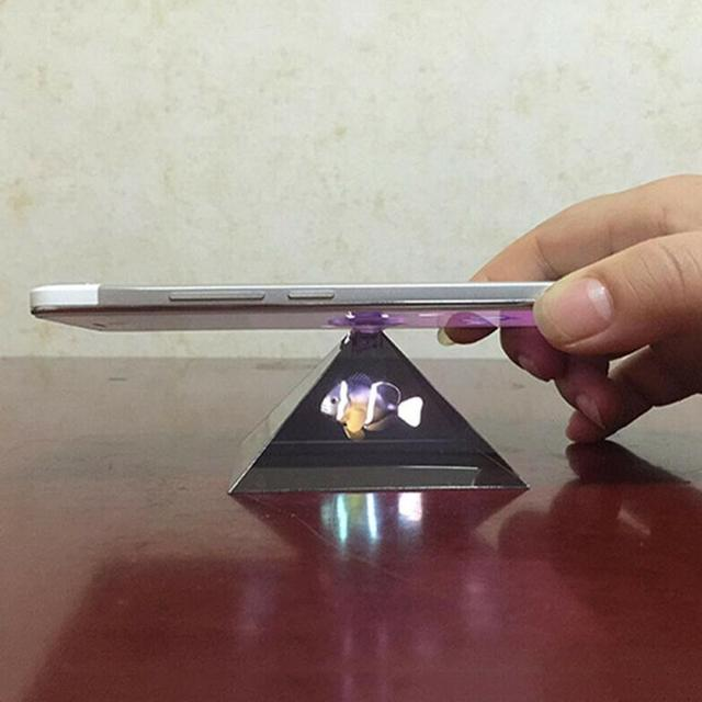 3D Hologram Pyramid Display Projector Video Stand Universa household transparent For Smart Mobile Phone C8R3 5