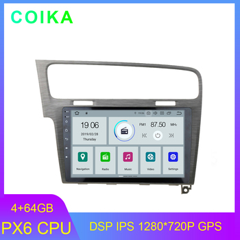 """COIKA 10.1"""" Android 9.0 System PX6 CPU Car GPS Radio For Volkswagen GOLF 7 Multimedia Player WIFI 4+64G RAM DSP IPS Touch Screen"""