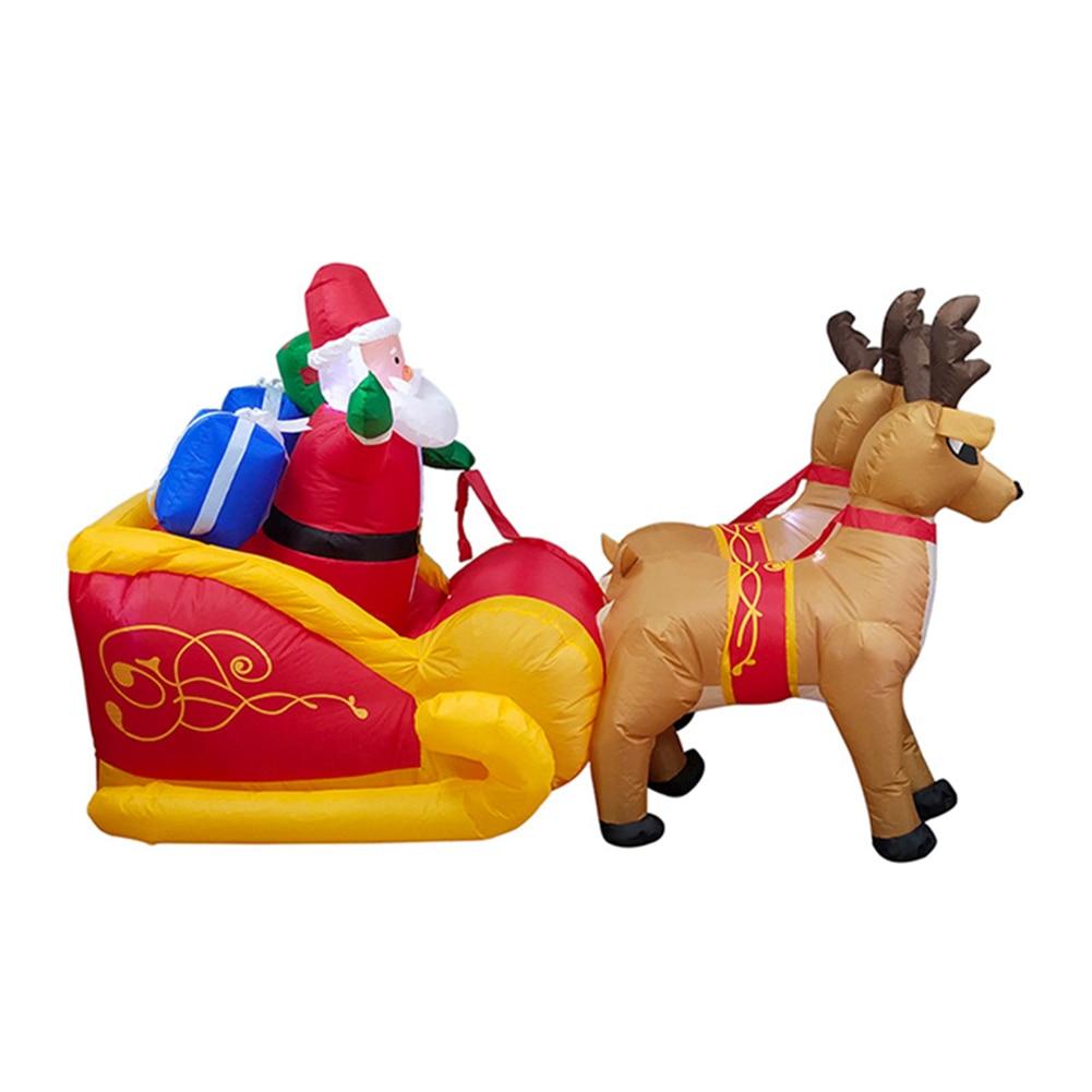 2020 carrito de ciervos inflable de Navidad doble carrito de ciervos altura 135cm Santa Claus decoraciones de vestir de Navidad - 1