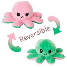 Novo macio e polvo brinquedo de pelúcia colorido boneca recheado flip roxo + verde bebê companheiro