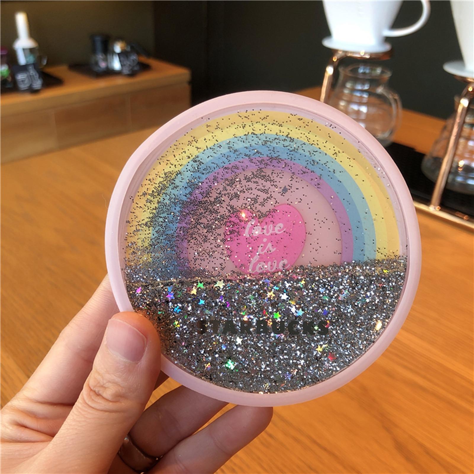 Glittery Sakura Quicksand Drink Mat 2