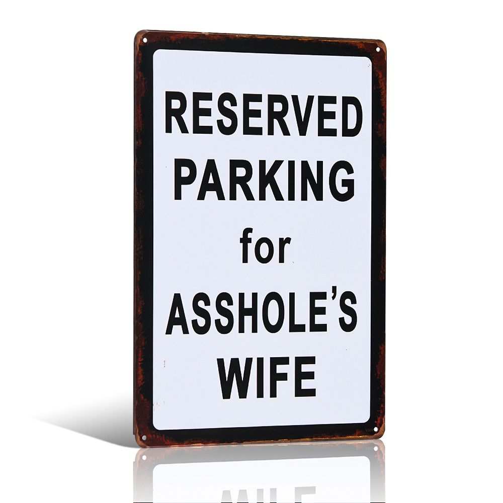 Vyhrazené parkování pro manželku Kovové cínové znamení Man Cave Home Decor Craft Wall Painting