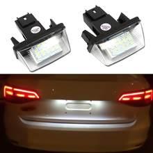 2 قطعة 18 لوحة ترخيص LED أضواء مصباح لبيجو 206 207 307 308 406 سيتروين C3/C4/C5/C6 6500K الضوء الأبيض لوحة ترخيص أضواء