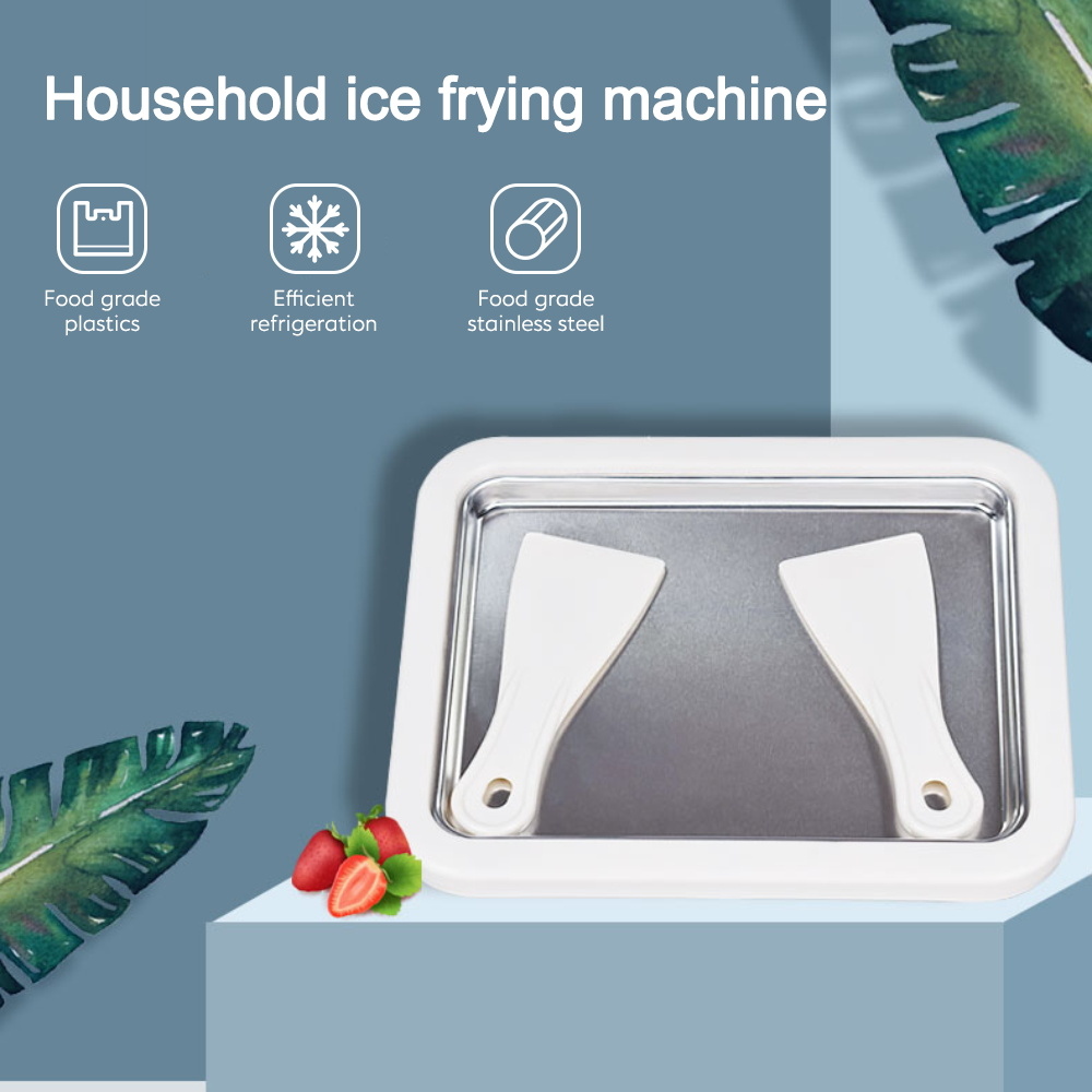 Ice Cream Tool DIY Homemade Pan Home Mini With Shovel Portable Fried Frozen Yogurt Maker Double-Layer Hollow Stainless Steel