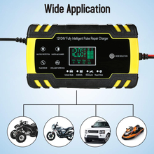 12V 6A/12V 8A 24V 4A cargador de batería de coche completamente automático, cargador de reparación de pulso de energía, batería de ácido seco húmedo, pantalla LCD Digital