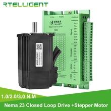 цена на Rtelligent 57mm Nema 23 Stepper Motor 1 2 3 N.M with Nema 23 24 Closed Loop Stepper Motor Driver Easy Servo Driver Encoder cable