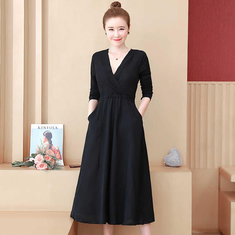 فستان أسود حجم كبير متوسطة طويلة القسم كان رقيقة غطاء اللحوم ربيع جديد فضفاض الخامس الرقبة حفلة بلون الموضة vestidos D259
