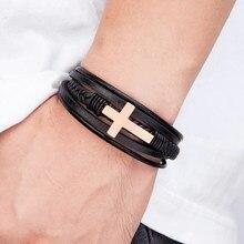 Fé cruz de aço pulseira de luxo design cruz pulseira de aço inoxidável para homem pulseira de couro fs99