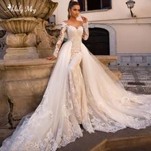 Adoly Mey Gorgeous Appliques Detachable Train Mermaid Wedding Dresses 2020 Elegant Scoop Neck Long Sleeves Vintage Bridal Gowns