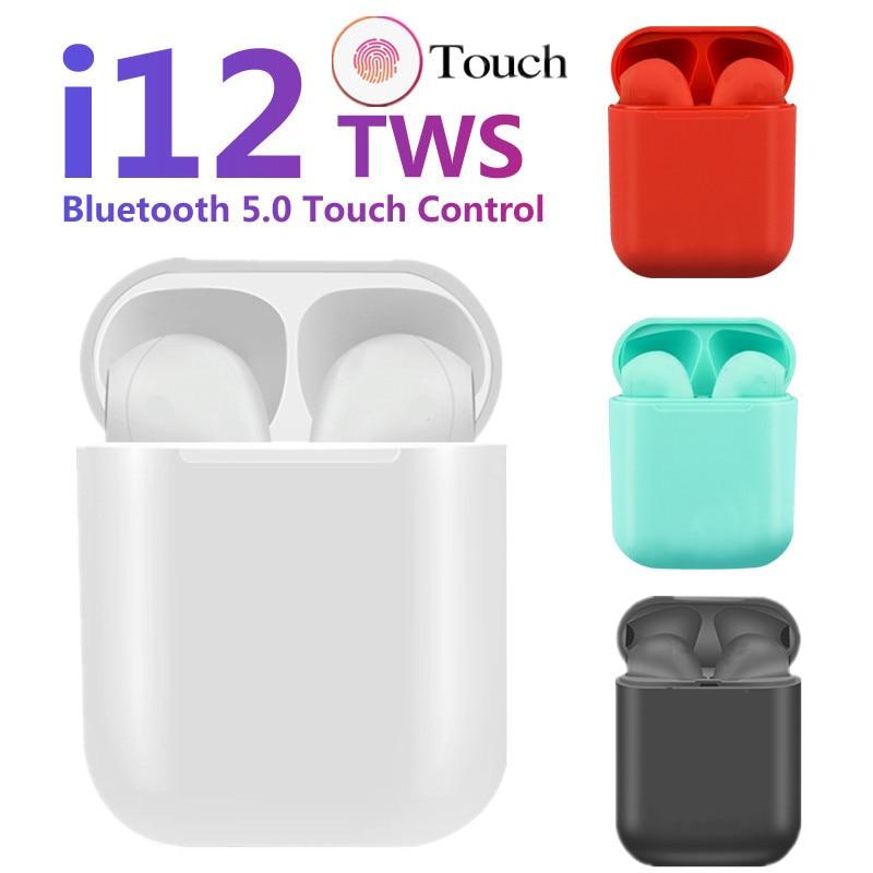 I12 Tws Matte Bluetooth Earphone Wireless Earbuds Hands Free Business Earpieces Sport Headset Bluetooth Music Earphone Earbuds