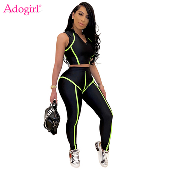 Adogirl Fluorescent Stripe Patchwork Women Tracksuit Fitness Casual Two Piece Set Sleeveless Crop Top Tight Pants Leggings Suit adogirl women tie dye print camisole two pieces set fashion casual sleeveless crop top shorts tracksuit summer fitness outfits