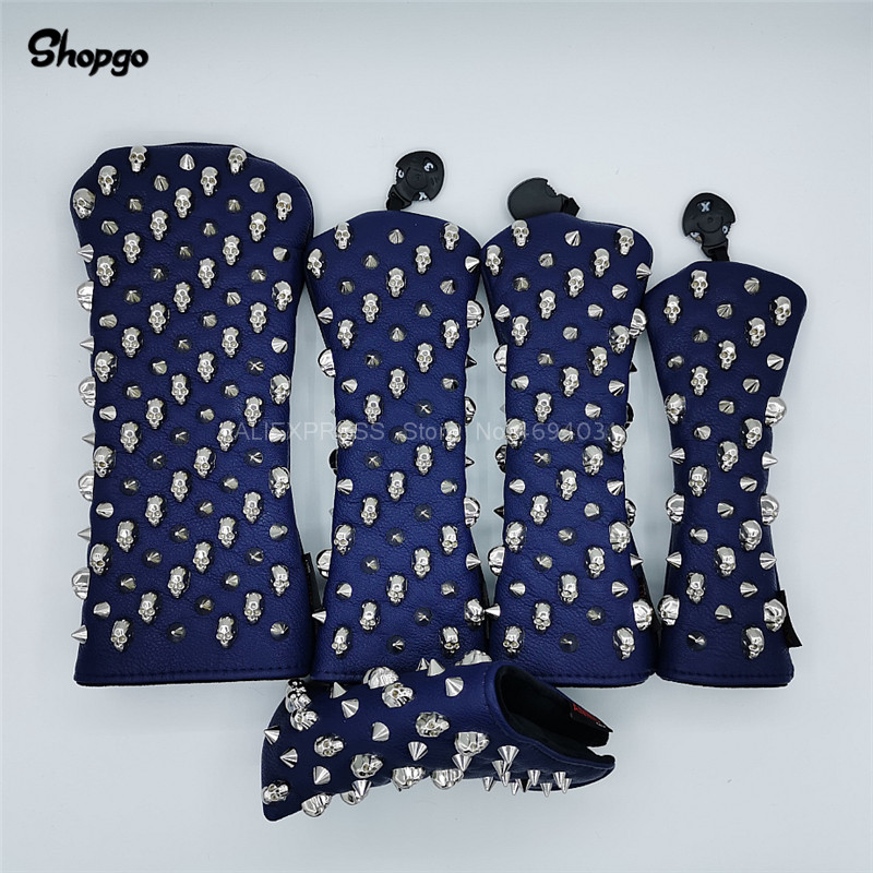[Silver Skull Rivets] Navy Blue Golf Headcovers Golf Driver Fairway Woods Hybrid Putter Covers Complete Set Novelty Gift