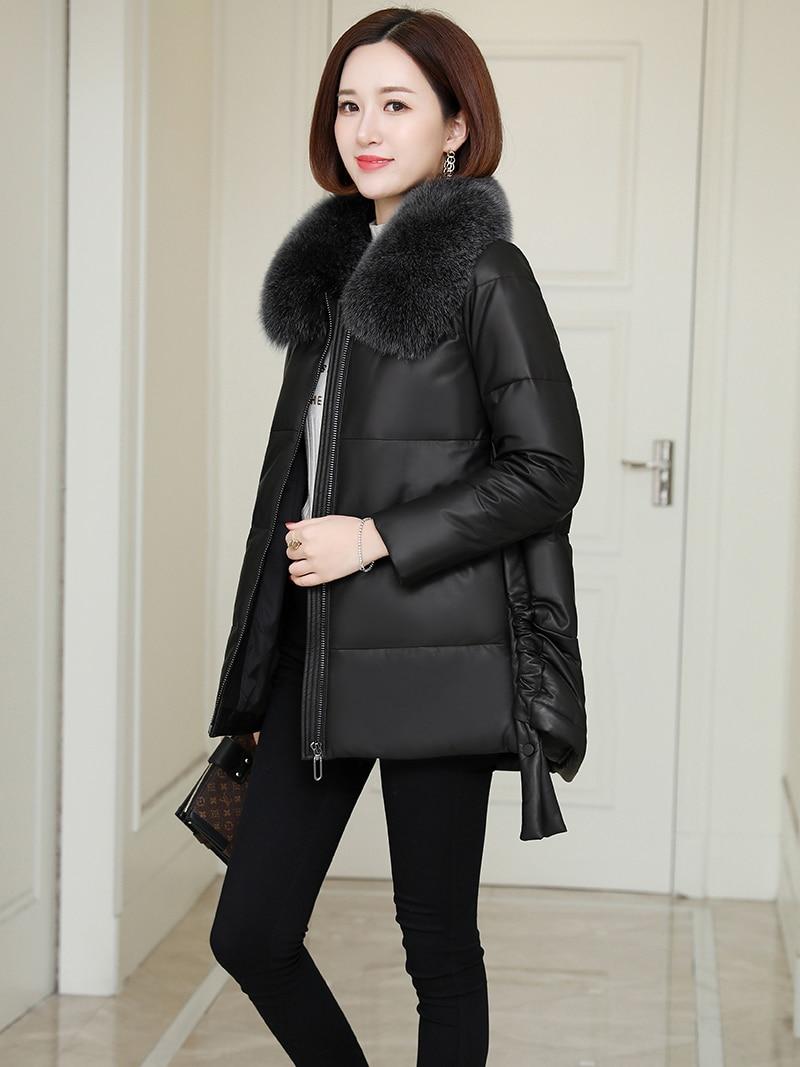 100% Genuine Leather Jacket Women Winter Real Fox Fur Collar Sheepskin Duck Down Coat Female Korean Leather Jackets 2099