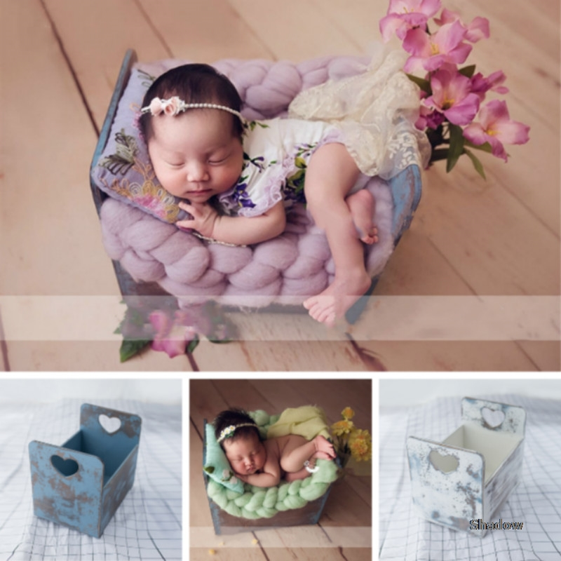 Baby Photography Props Wooden Baby Photo Bed Do Old Mini Bed Infant Photo Shoot Accessories Heart Handle Drawer New Type