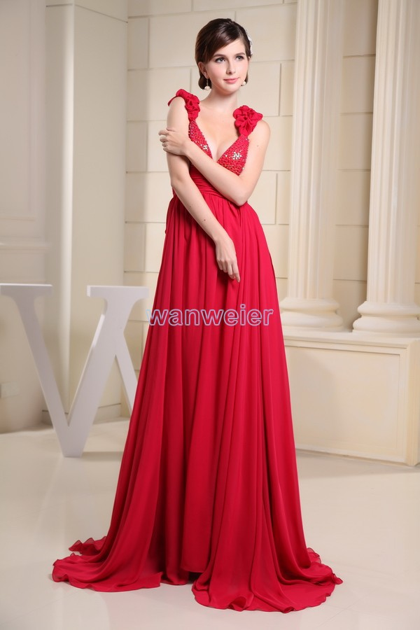 Free Shipping 2018 New Arrival Hot Sale Beading V-neck Custommade Color Strap Plus Size Long Gowns Red Chiffon Bridesmaid Dress