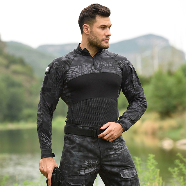 HAN WILD Men's Outdoor Hunting Tactical Shirts Air Soft Combat Tee Shirts Breathable Army Military Shirts Gray Hunting T-shirt 3