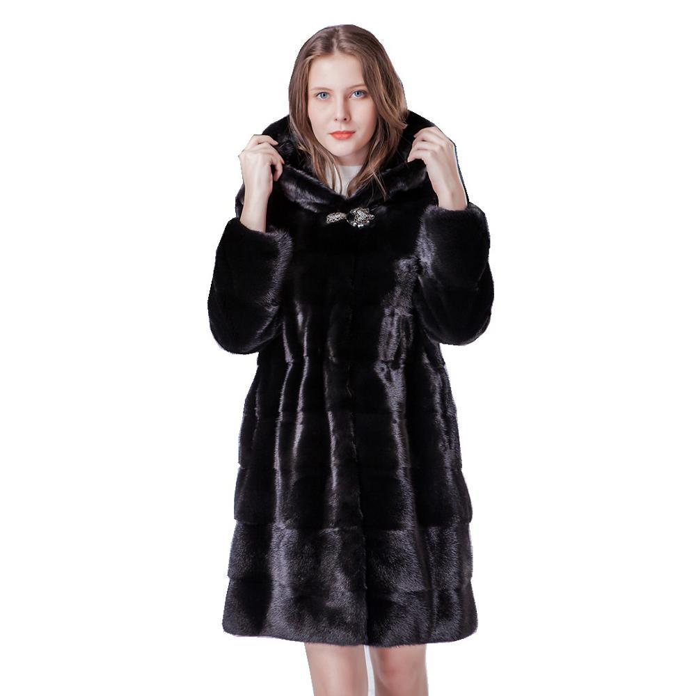 Luxury Genuine Mink Fur Coat Jacket With Hoody Autumn Winter Genuine Women Fur Outerwear Plus Size  4XL 5XL 6XL LF9068