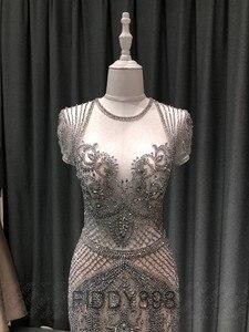 Image 3 - Lüks Mermaid akşam elbise uzun Cap kollu el yapımı boncuklu balo elbise 2020 Vestidos de Fiesta de Noche OEV L4208
