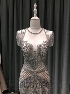 Image 3 - Luxo sereia vestido de noite longo boné manga artesanal frisado baile de formatura vestido 2020 vestidos de noche OEV L4208