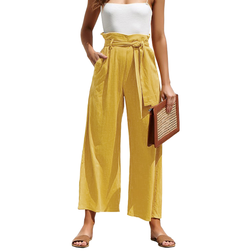 2020 Summer Solid Wide Leg Pants Women Loose Trousers Ladies High Waist Ankle Length With Sashes Pockets Casual Pantalon Femme