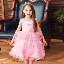 Vgiee Fall Winter Style Little Girls Clothing Mesh Cotton Kids Dressess Wedding Birthday Party Dress Clothes CC617A
