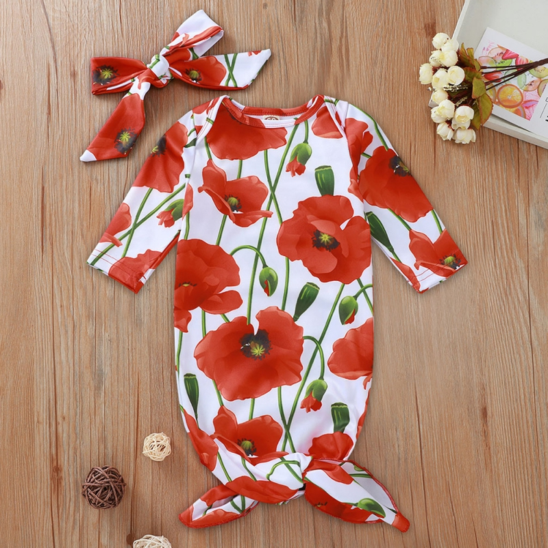 Infant Kids Baby Sleeping Bag Long Sleeve Baby Boys Girls Cotton Floral Print Hair Band 0-12 Months