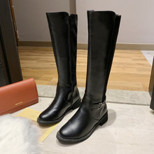 Autumn and Winter Women Fashion Boots Long Tube Knights Female Sheos Thick Large Belt Buckle Cross Border