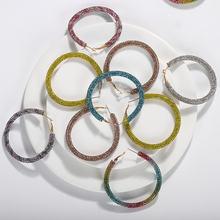 Преувеличенные красочные большие блестящие стразы серьги кольца