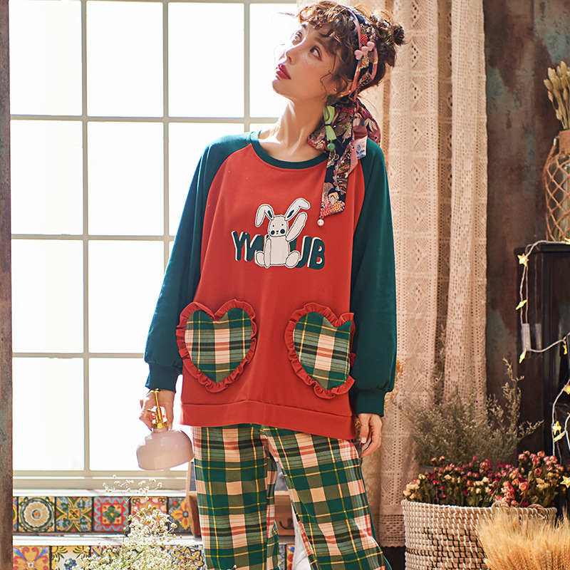 Cute Rabbit Print Pyjama Women's Cotton Long-sleeved Sweet Plaid Pants Girl Two-piece Set Spring Autumn Tracksuit New Year Gifts 28