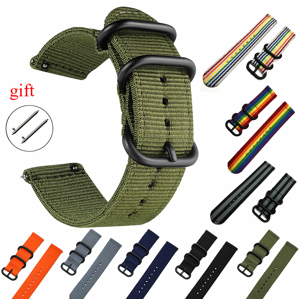 NATO Watchband Nylon Strap Black Ring Buckle 18mm 20mm 22mm 24mm Striped Replacement Band Watch Accessories