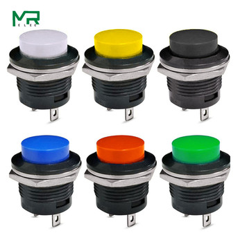цена на 1PCS R13-507 Momentary SPST NO Red Black White Yellow Green Blue Round Cap Push Button Switch AC 6A/125V 3A/250V