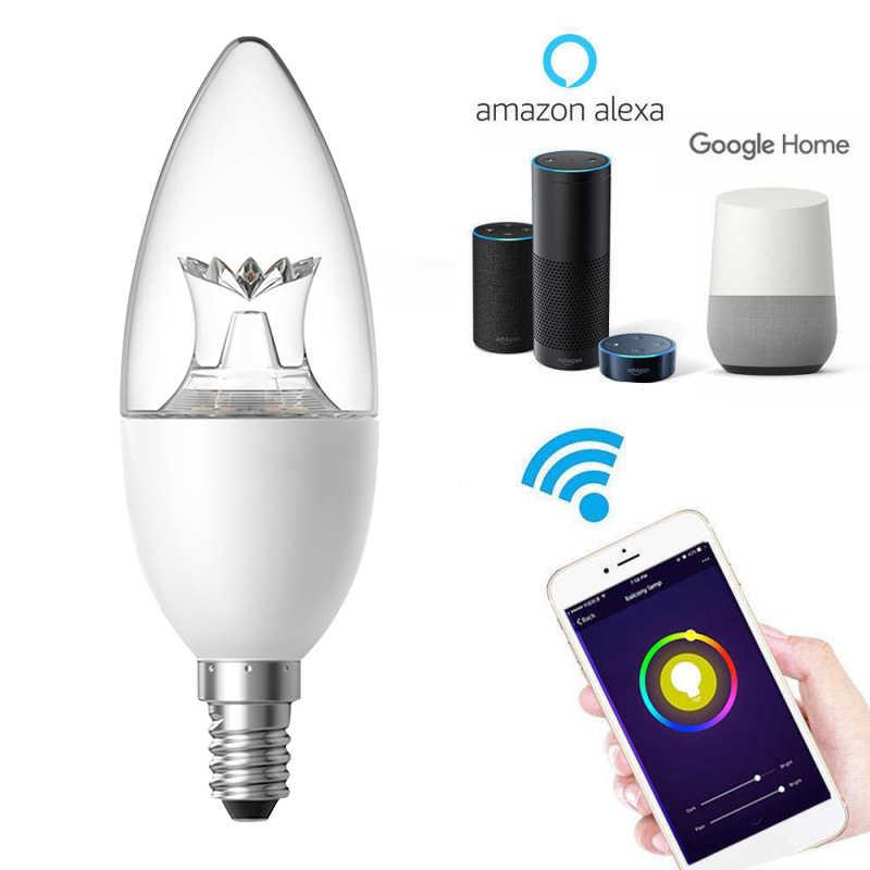 WiFi światła żarówki innowacyjnych lampa Led E27/E14/B22/E26 Wake-Up ciepłe inteligentne światła pracy z Alexa Google domu boże narodzenie światła