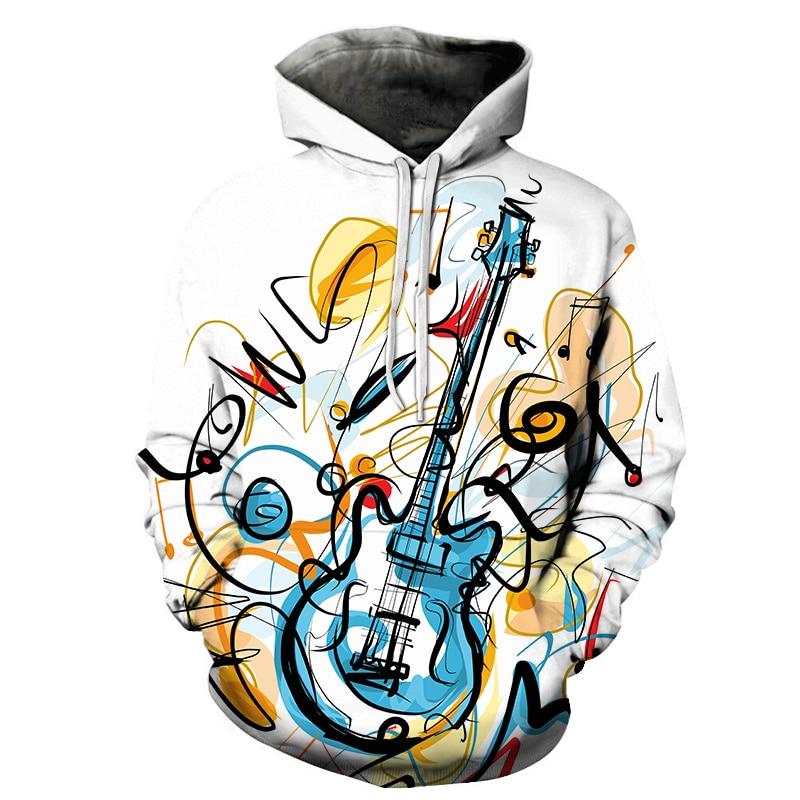 Cartoon Guitar 3D Printing Men Women Hooded Sweatshirts Multicolor Guitar Casual Hoodie Streetwear Personality Plus Size Hoodies