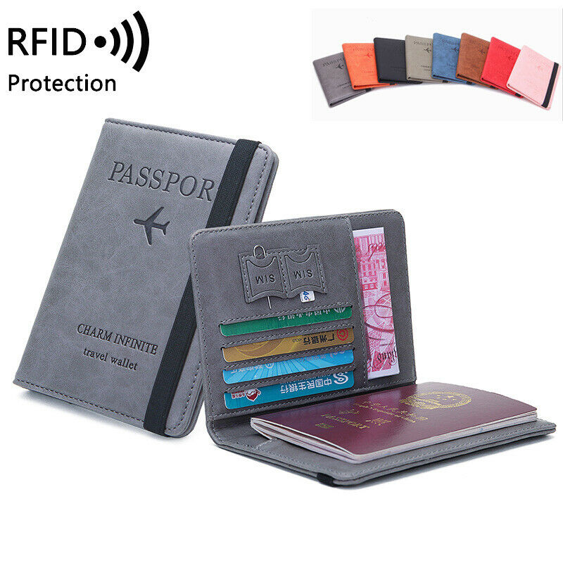 RFID Travel Passport Cover Wallet Unisex Business Multifunction Credit Card Purse Organizer Case With Elastic Band 8 Colors