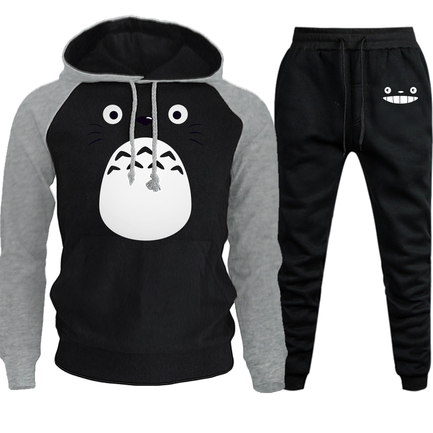 Cute Totoro Streetwear Mens Raglan Hoodies Autumn Winter 2019 New Cartoon Suit Casual Pullover Fleece Hooded+Pants 2 Piece Set