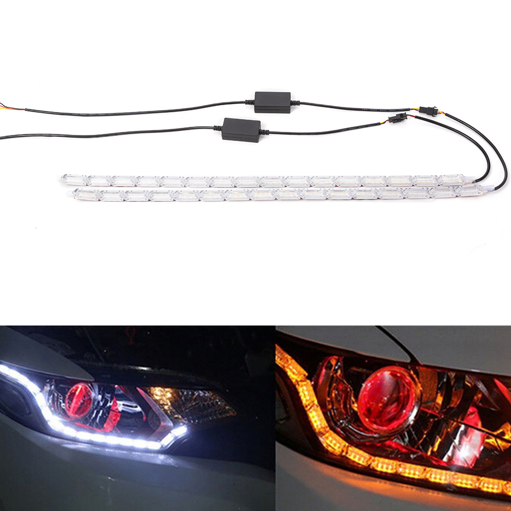 2pcs Flexible LED Strip DRL Daytime Running Light Waterproof Sequential Flow Headlight Switchback Runners Corner Turn Signal DRL