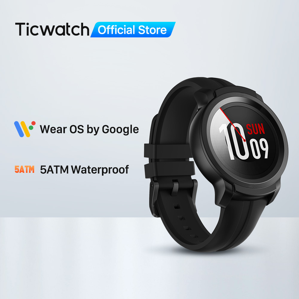 TicWatch E2 Wear OS by Google Smart Watch with Built-in GPS  iOS amp  Android compatible 5ATM Waterproof Long Battery life