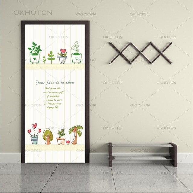 2 pièces/ensemble auto-adhésif étanche porte autocollants Style chinois papier peint pour enfants chambre étude chambre décor à la maison renouveler portes décalcomanie