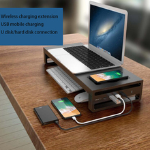 Multi-Function Laptop Stand Computer Screen Riser Aluminum Shelf Plinth Desktop Monitor Stand Metal with USB Wireless Charging