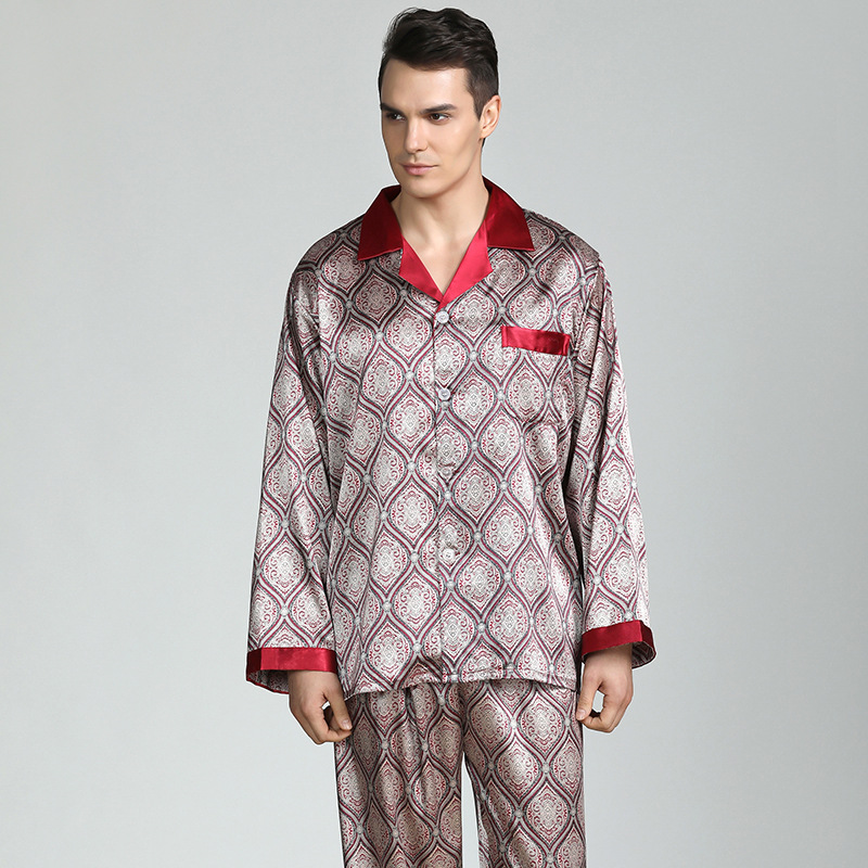 Suit Pajama-Set Nightwear Satin Long-Sleeve Silk Home-Service Mens Print Hot-Sale High-Quality