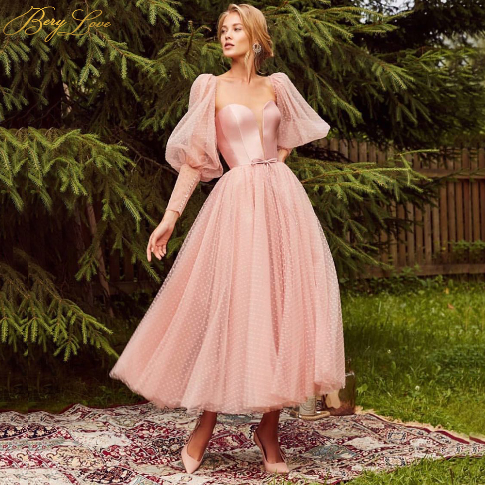 Lace Up Satin Pink Prom Dress Dot Tulle A Line Elegant Party Dress Tunic Corset Puffy Sleeves Long Gown Evening Dress Plus Size
