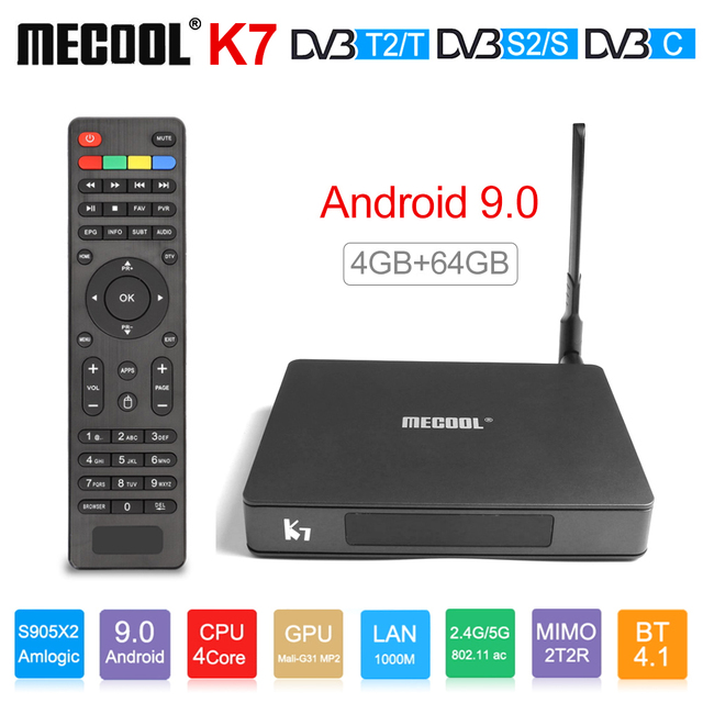 Mecool K7 مربع التلفزيون الذكية أندرويد 9.0 DVB T2/S2/C Amlogic S905X2 رباعية النواة 4GB DDR4 64GB 4K 60fps ثنائي واي فاي 1000Mbps K7 مجموعة صندوق