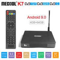 Mecool k7 smart tv caixa android 9.0 DVB-T2/s2/c amlogic s905x2 quad core 4 gb ddr4 64 gb 4 k 60fps duplo wifi 1000 mbps k7 conjunto caixa superior