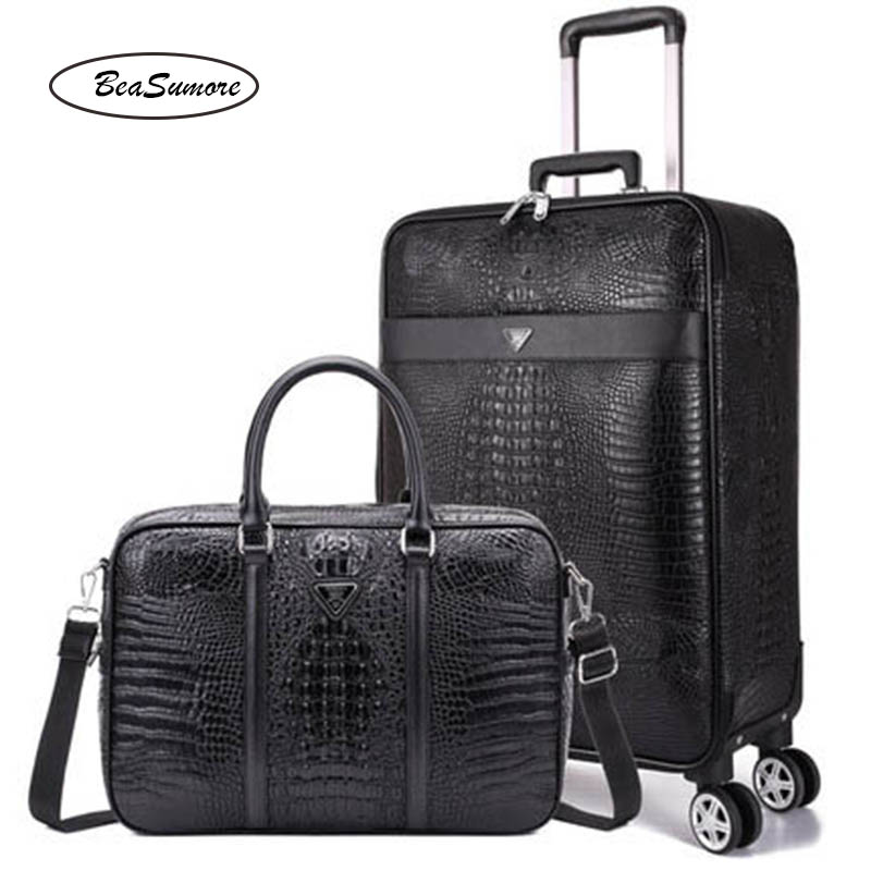 BeaSumore Black crocodile pattern Rolling Luggage Sets Spinner 16/<font><b>24</b></font> <font><b>inch</b></font> PU Leather Suitcase Wheels Men <font><b>Laptop</b></font> bag Trolley image