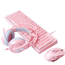 Wired Gaming Keyboard Set LED Backlight Gaming Keyboard Cute Pink Mouse & Headset Combos Kit Suitable for Gamers PC Laptops
