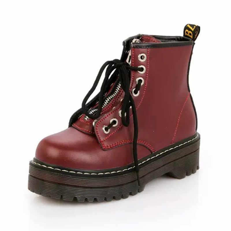 Yüksek platformu kadın deri çizmeler PU deri çizmeler kış kadın ayakkabı moda kadın ayakkabı