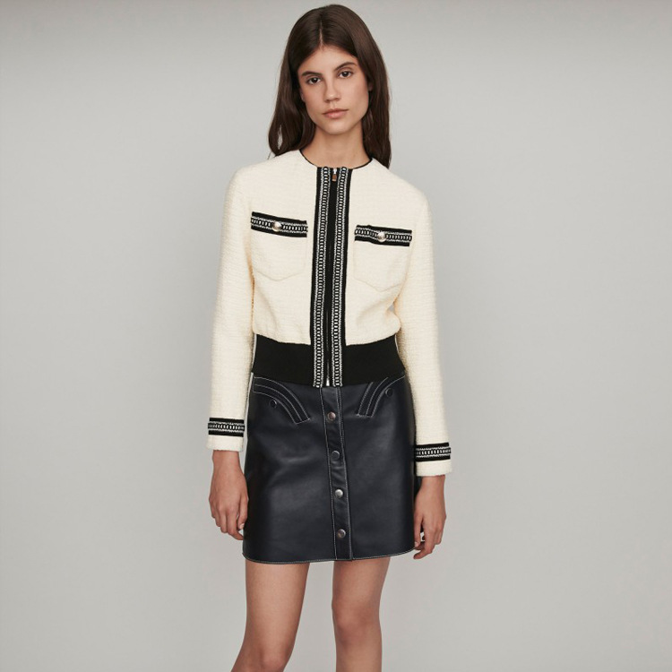 2019fall New Women Couture Coarse Flowers Jackets Coat Short Waist Jacket Zippers O-Neck Coats and