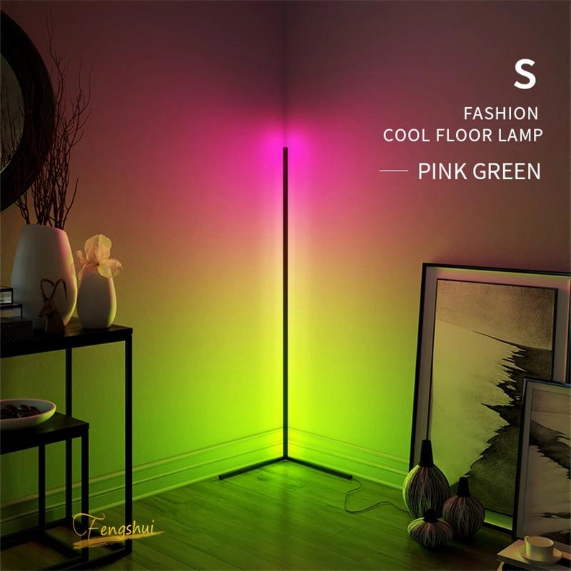 Nordic LED Corner Floor Lamp Bedroom Atmosphere floor Light Bedroom Bedside Living Room Colorful Dimming Indoor Standing Light Home decoration Living Room