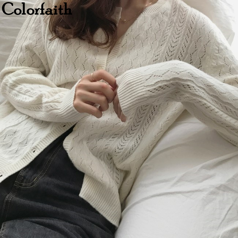 Colorfaith New 2019 Autumn Winter Women's Sweaters Solid Casual Minimalist Fashion Tops Korean Style Knitting Cardigans SWC1750