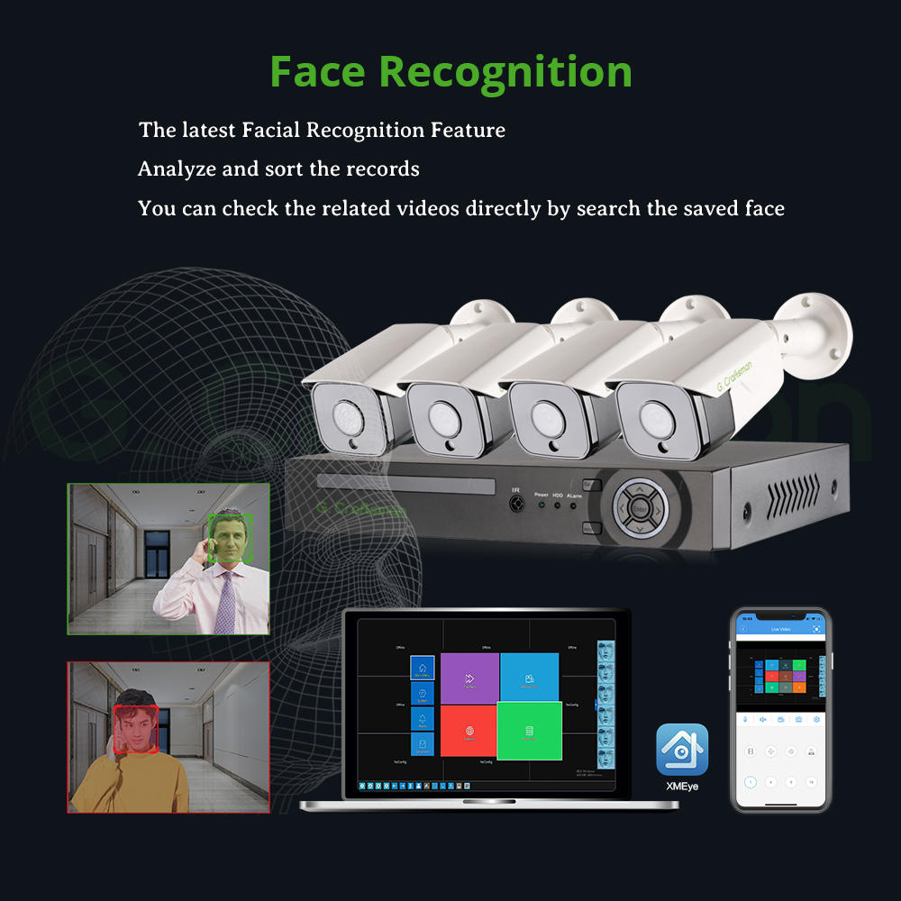 XMeye 5MP Face Detection POE IP Camera Security System Kits 4CH SONY 335 Audio Waterproof CCTV Video Surveillance AI Onvif NVR